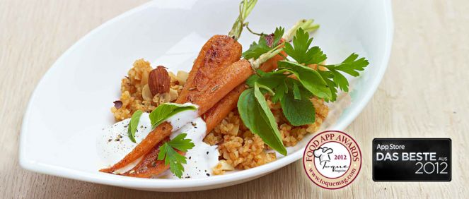 B-apps-gove-fried carrots with almond bulgur
