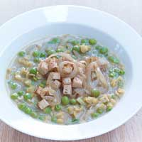 Pea and lentil stew with wine-braised onions and smoked tofu,
