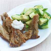 Baked oyster mushrooms with lime mayonnaise and cucumber and avocado salad ,