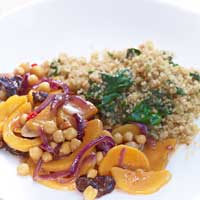 Roasted quinoa with braised squash and chickpeas,