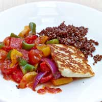 Oven ratatouille with red quinoa and Haloumi,